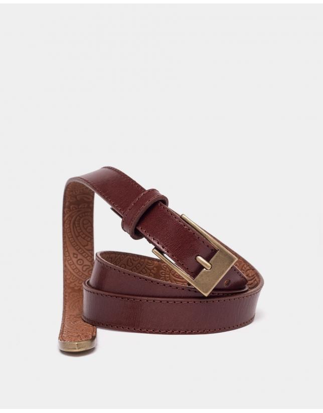 Cinturón estrecho piel marrón