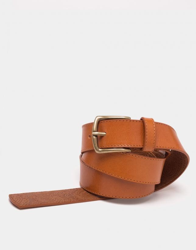 Cinturón largo piel cámel