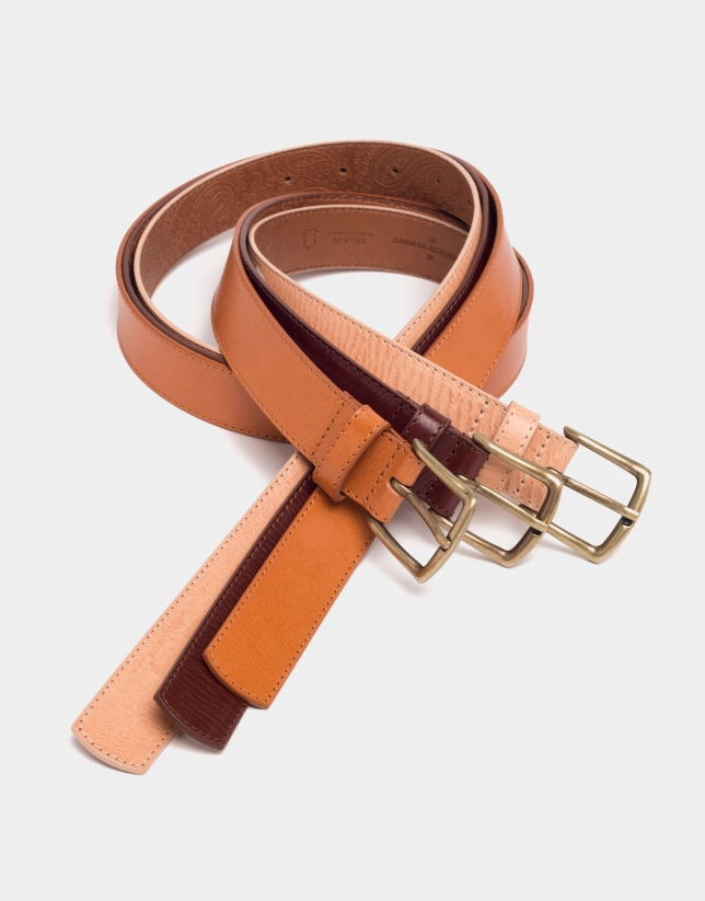 Camel leather long belt