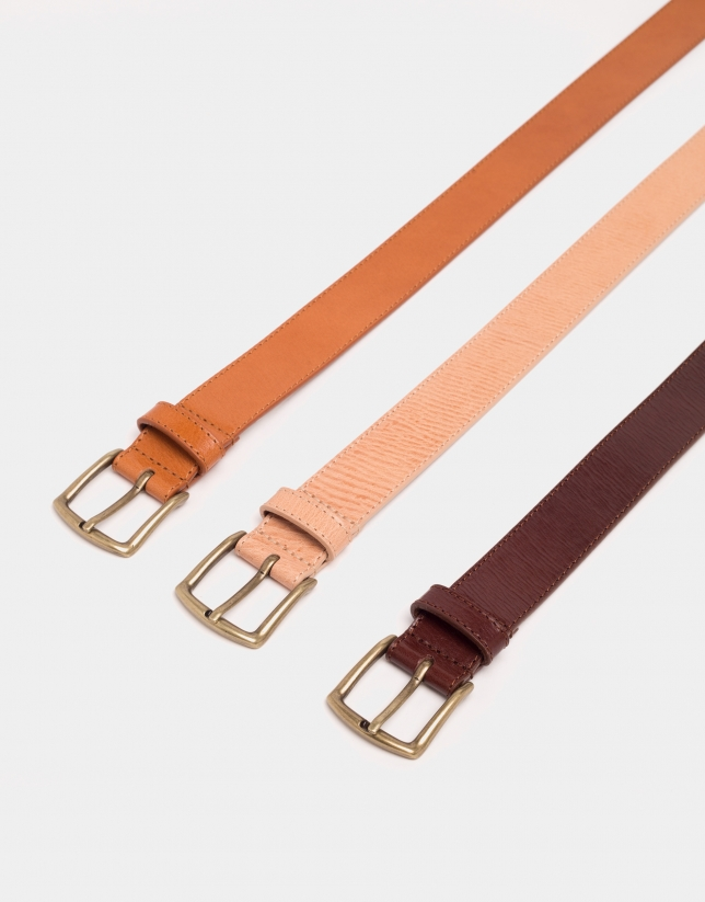 Brown leather long belt