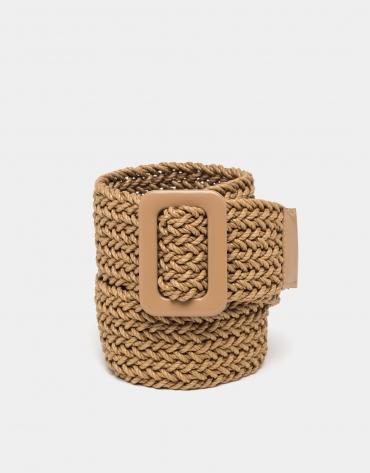 Cinturón trenzado cámel