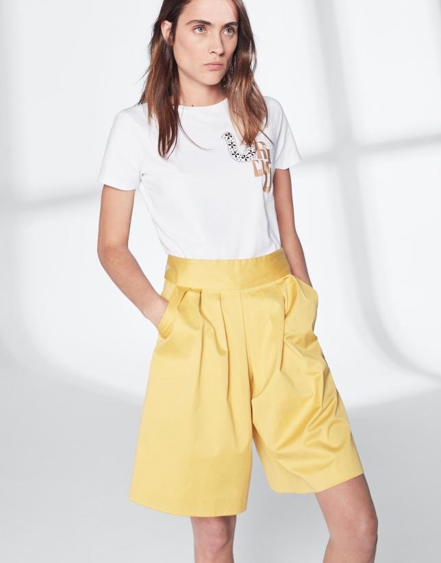 Bermuda en coton jaune