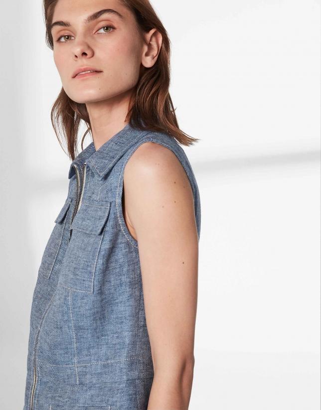 Medium blue linen vest