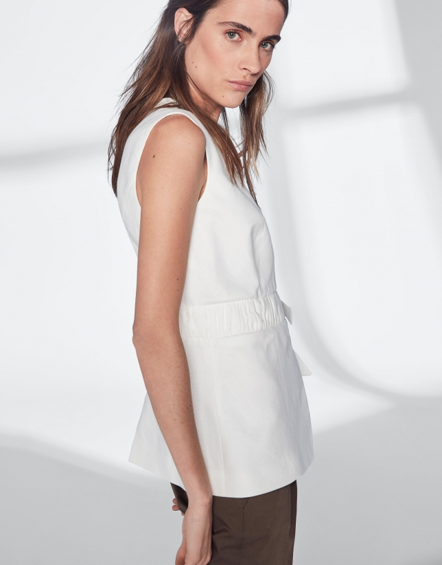 White, double-breasted, linen vest