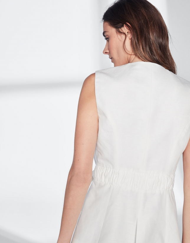 Chaleco lino cruzado blanco