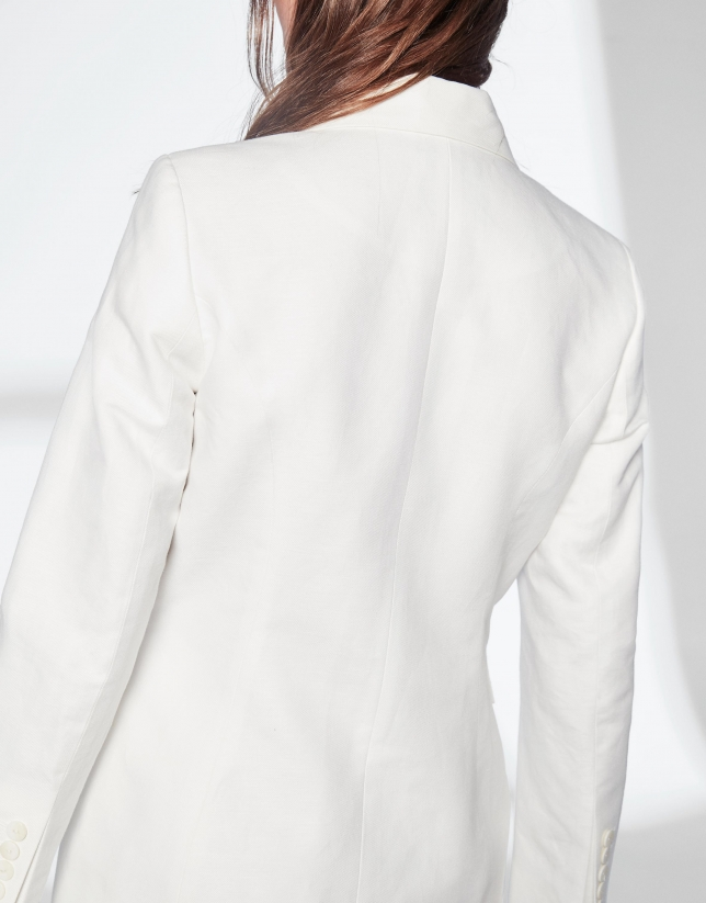 White linen double-breasted sport jacket