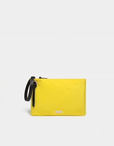 Yellow nylon handbag