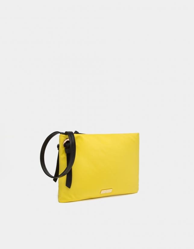 Yellow nylon handbag