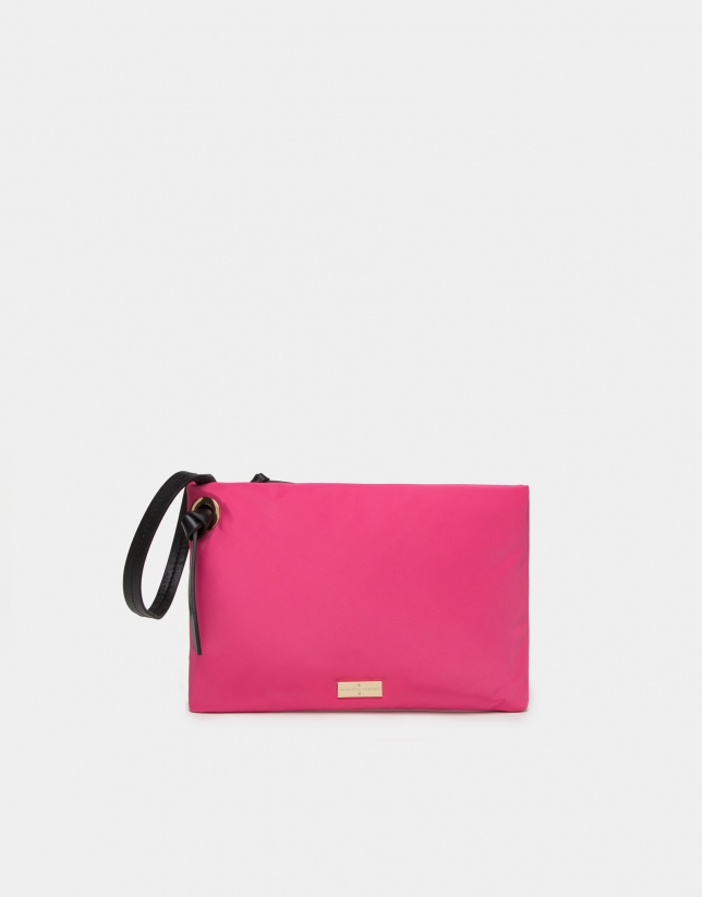 Fuchsia nylon handbag