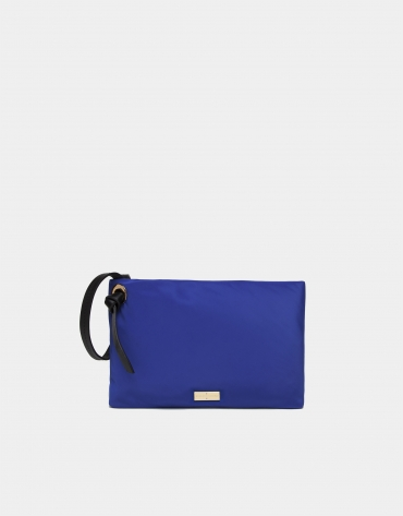 Blue nylon handbag