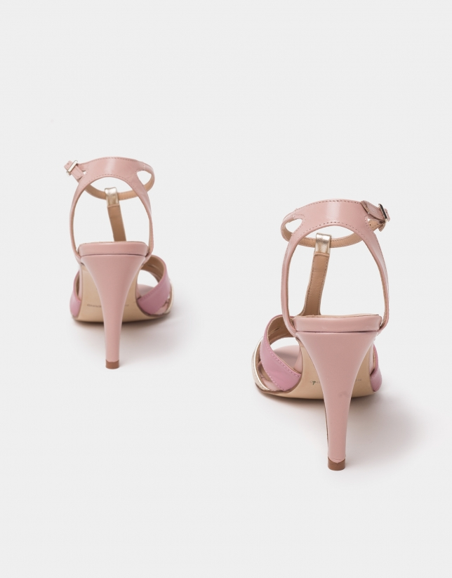 Pink leather sandals with heels