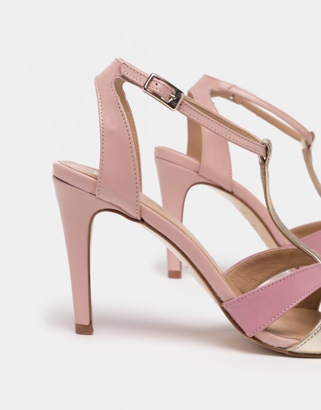 Zapato salón piel rosa