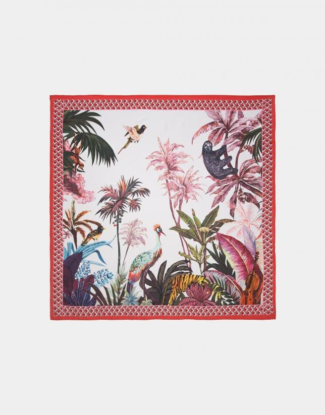 Foulard en soie imprimé tropical
