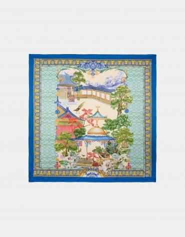 Pañuelo seda estampado azul