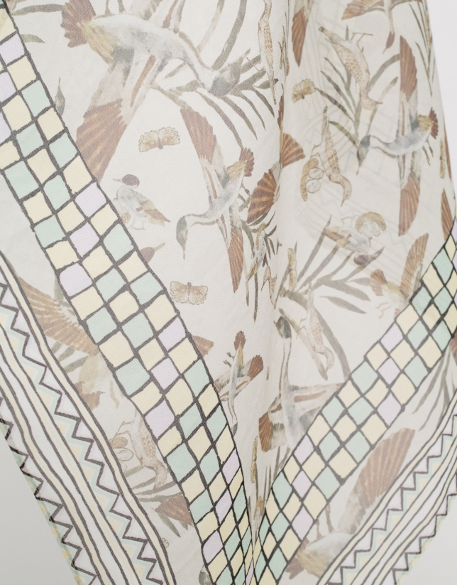Geese print silk scarf