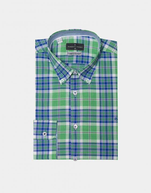 Camisa sport cuadros verdes/azul