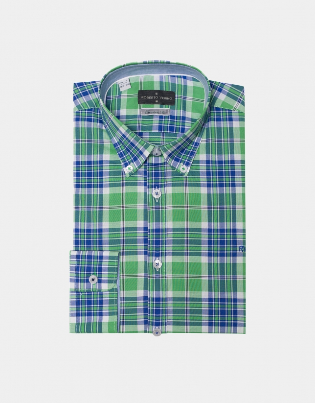 Green/blue checked sport shirt