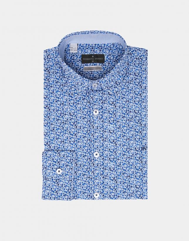 Camisa sport flores pequeñas azules