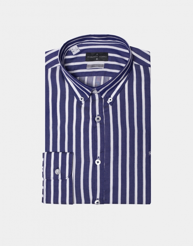 Blue/white wide striped sport shirt