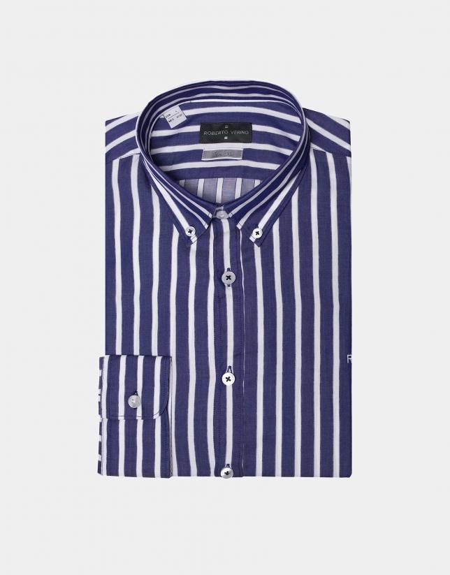 Camisa raya ancha azul y blanco