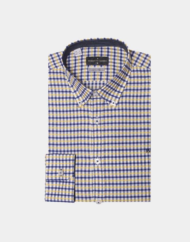 Navy blue/yellow checked sport shirt