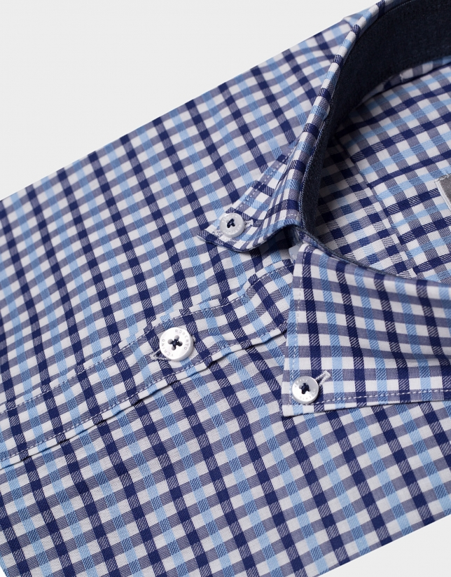 Navy blue/light blue checked sport shirt