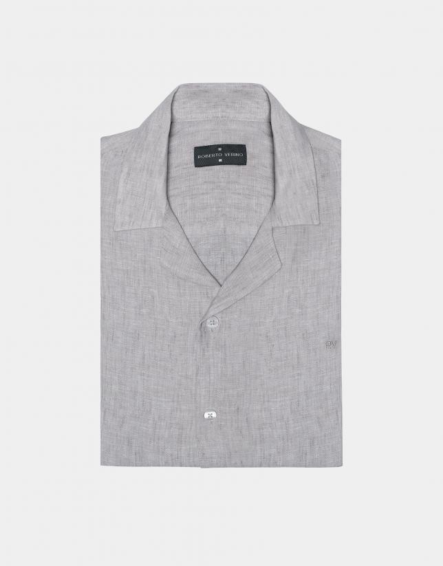 Camisa guayabera lino gris