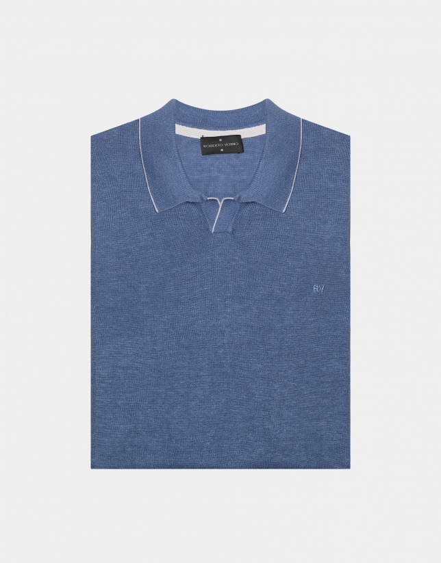 Polo tricot lino melange azul claro