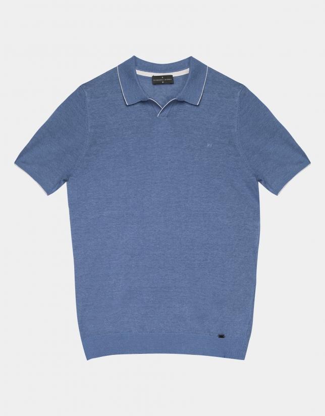 Light blue melange linen tricot polo