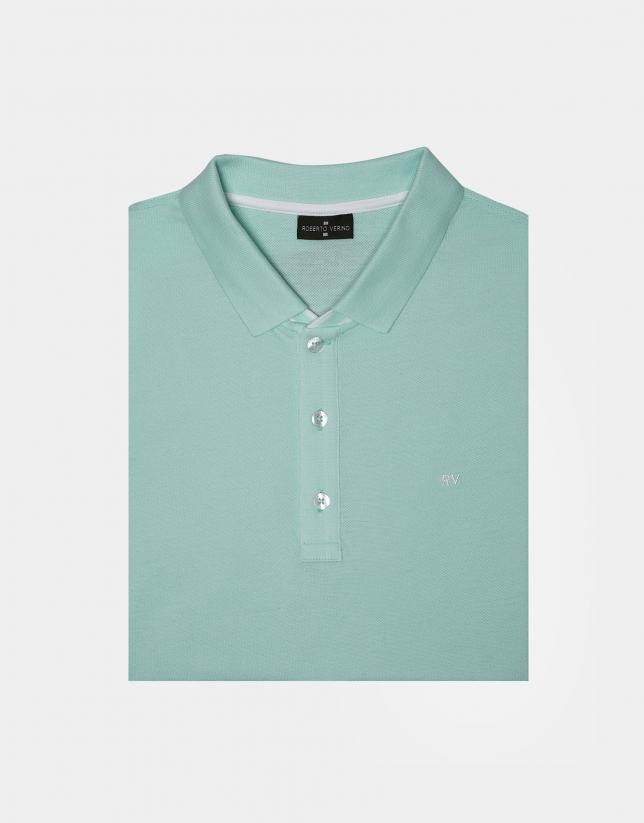 Aquamarine cotton pique polo
