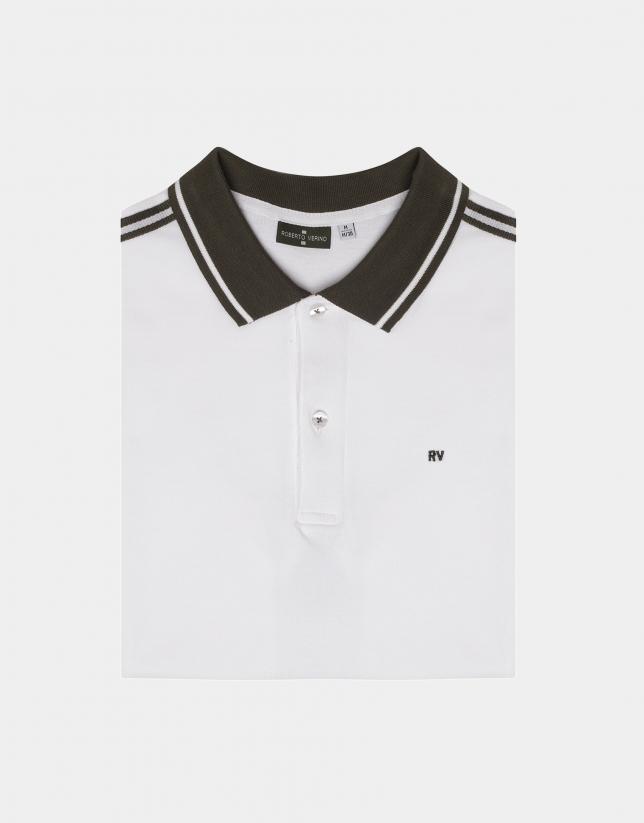 White and khaki striped cotton piqué polo