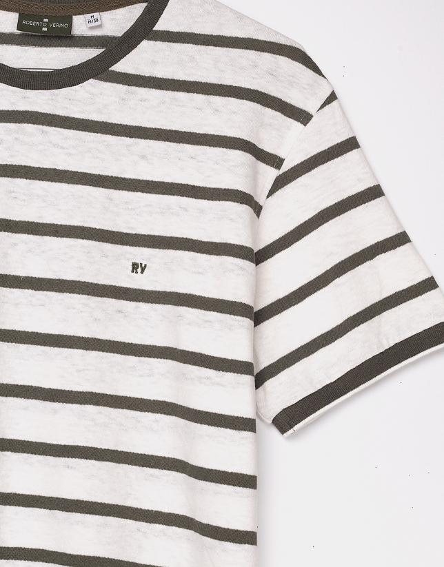 White top with khaki stripes