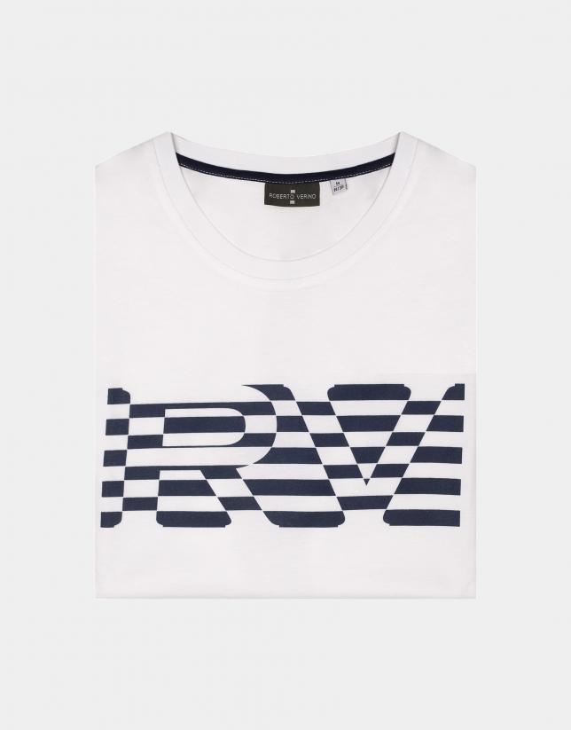 Camiseta blanca logo rayas marino