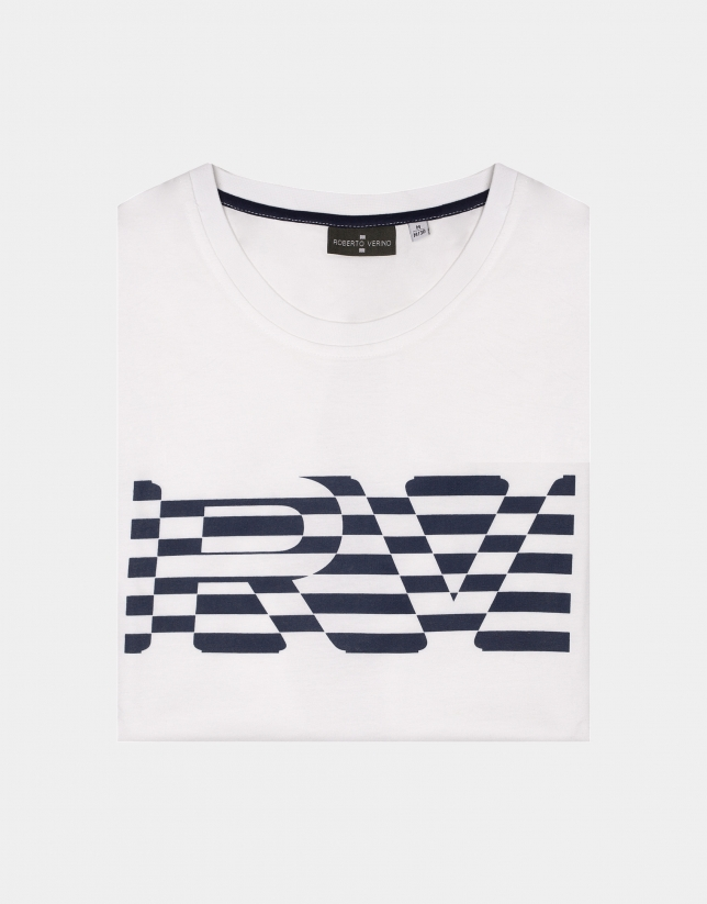 White top with navy blue striped logo
