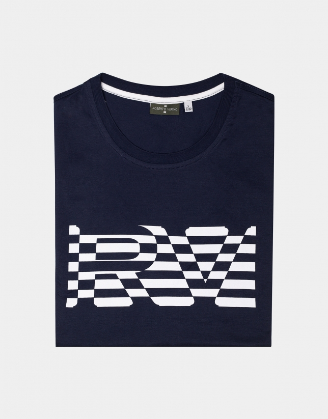 Navy blue top with white striped logo