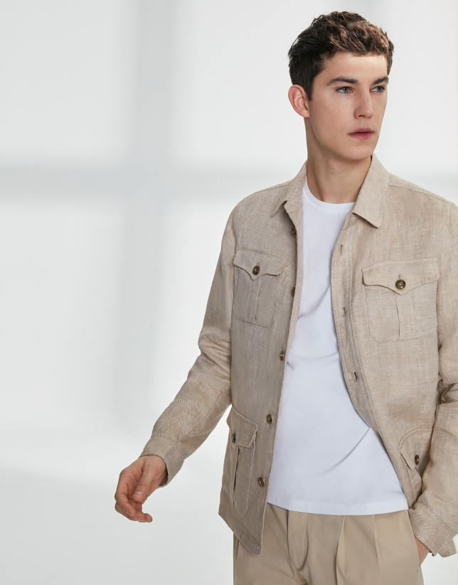 Sandy-colored linen Safari jacket