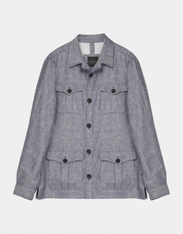 Light blue colored linen Safari jacket