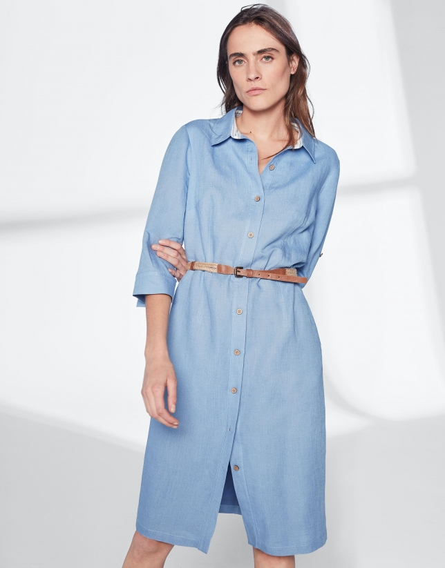 Blue linen shirtwaist dress