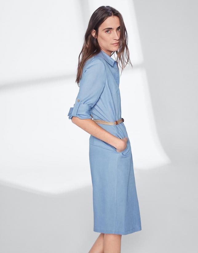Blue linen shirtwaist dress