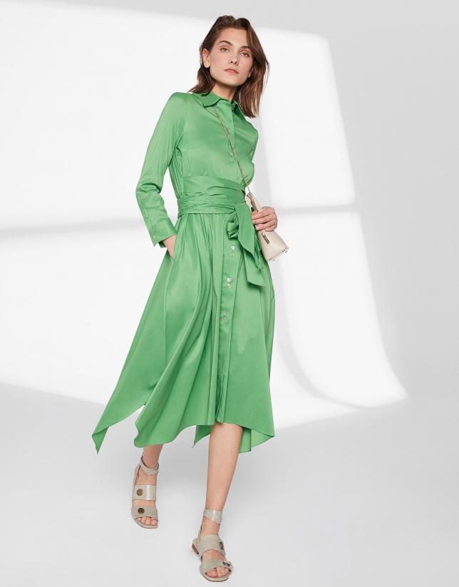 Robe chemisier vert avec jupe style foulard