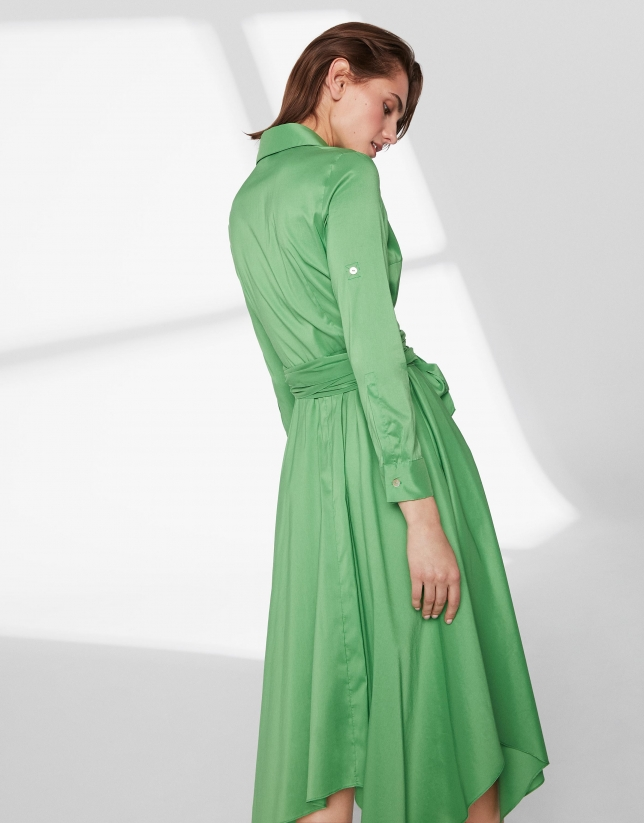 Green shirtwaist dress with scarf skirt