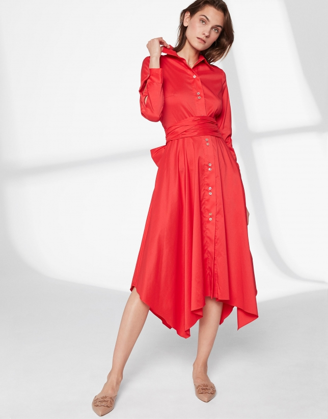 Red shirtwaist dress with scarf skirt
