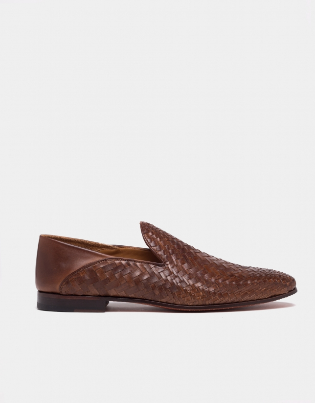 Slipper en cuir tressé marron