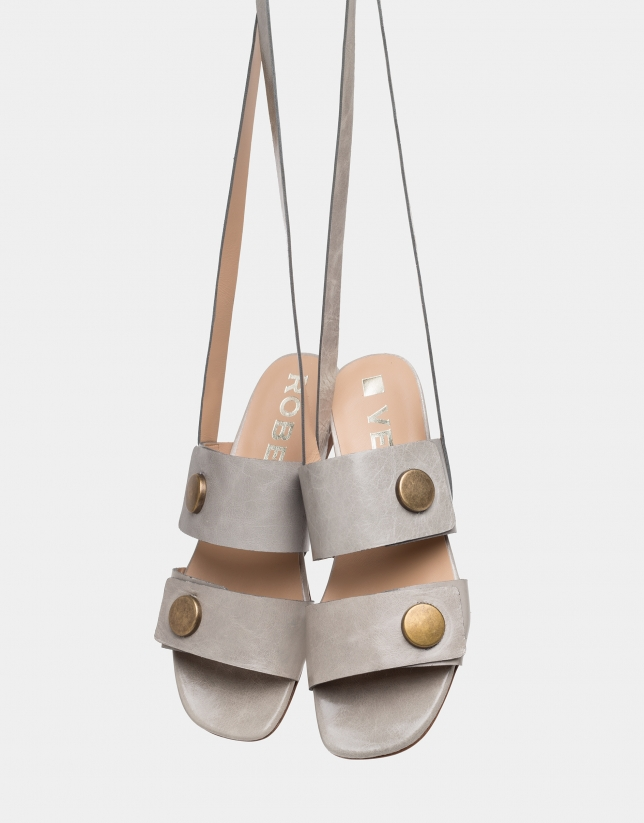 Sandy leather flat sandals