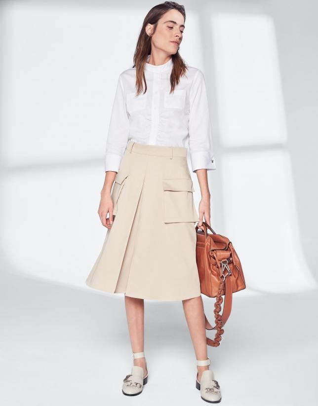Jupe-culotte midi couleur sable