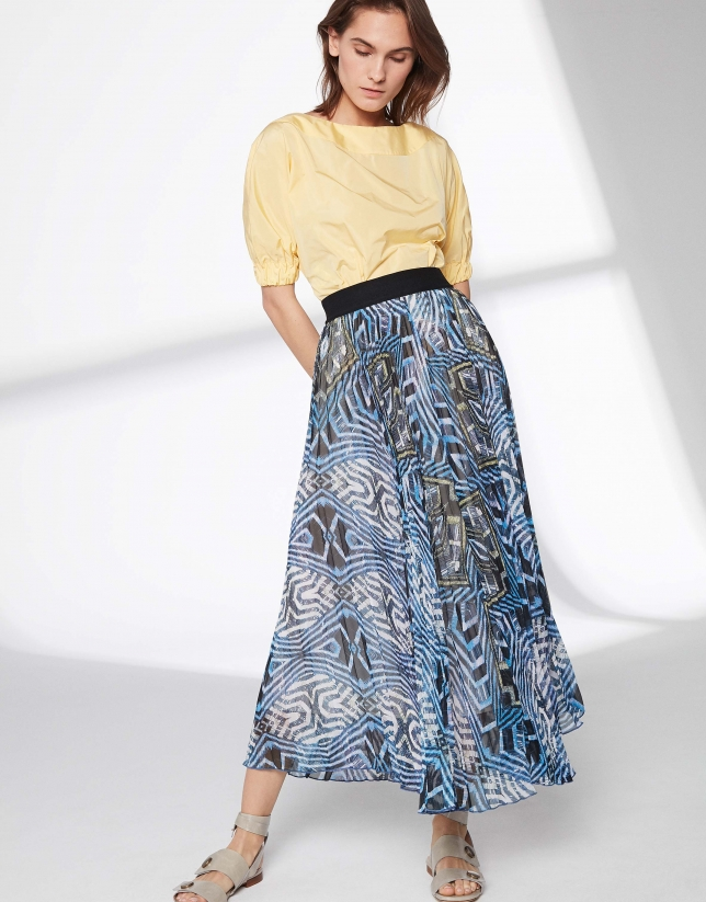 Falda larga plisada estampado azules