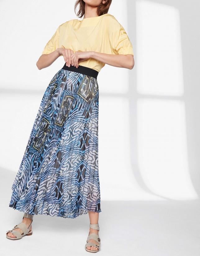 Blue print, long pleated skirt