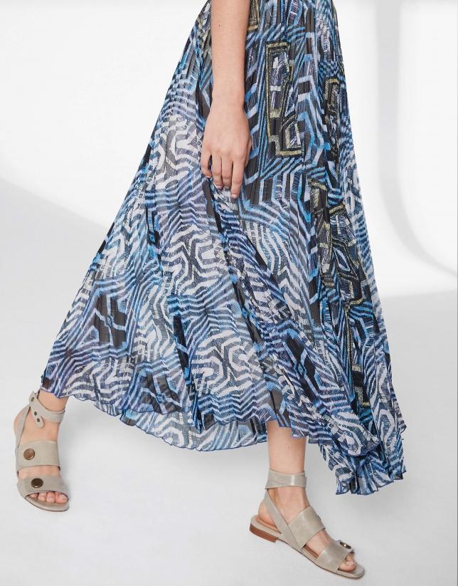 Jupe longue plissée imprimée en bleu