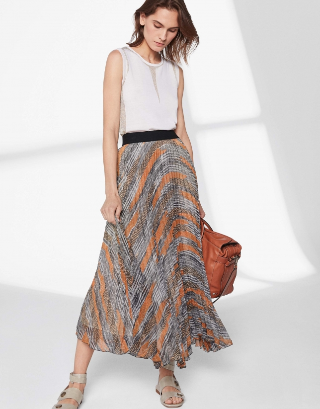 Brown print, long pleated skirt