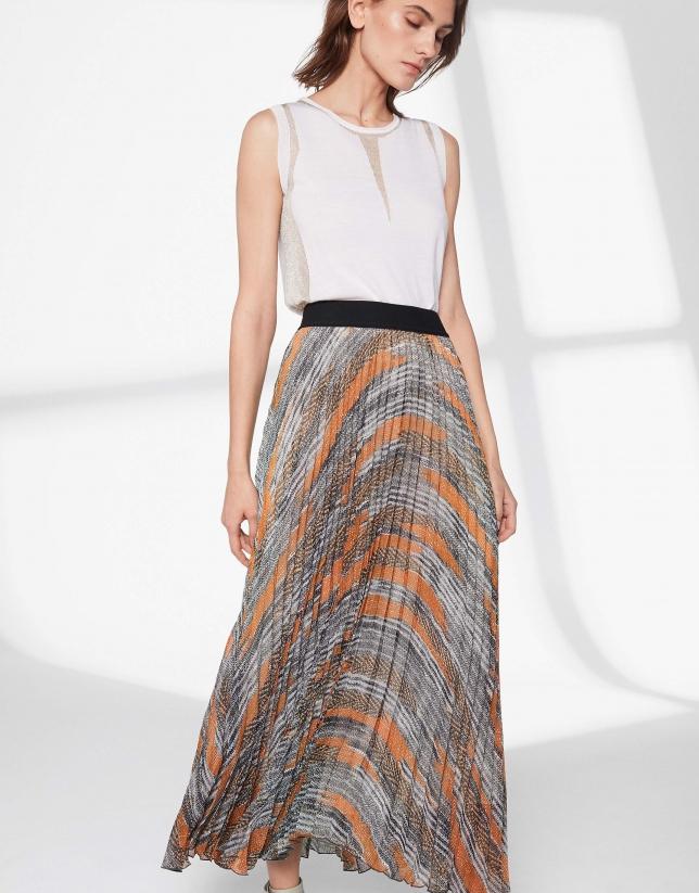 Falda larga plisada estampado marrones